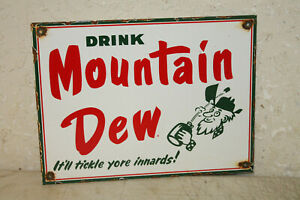 Mountain Dew Porcelain Enamel Signs Vintage Style Country Store Advertising