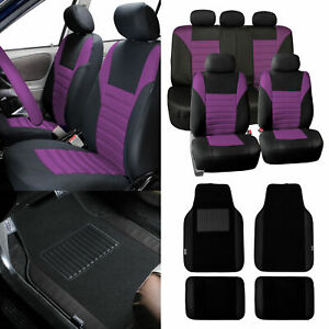 Car Seat Covers Purple For Auto Car Suv With Black Leather Trim Floor Mats