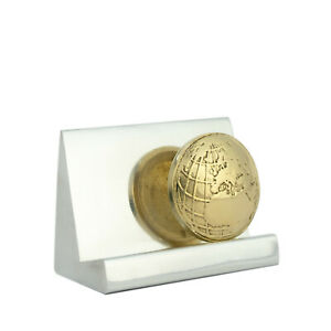Business Card Holder Handmade Of Solid Aluminum Brass Metal globe Design