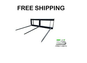 Es 49 Square Hay Spear Skid Steer Quick Attach Tractor Bale Spear free Shipping