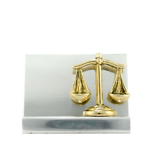 Business Card Holder Handmade Metal Balance Or Scale Of Themis Justice Symbol