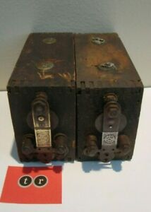 2 Antique Ford Ignition Coil Model T A Kw Kokomo Vibrator Wood Box