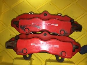 2003 Porsche Cayenne 4 5l V8 Turbo Rear Lh rh Brembo Brake Calipers Pair Red Oem