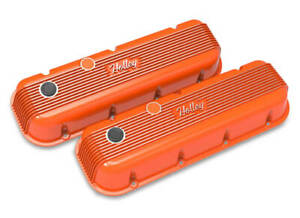 Holley 241 304 Bbc Vintage Series Finned Valve Covers Factory Orange Machin