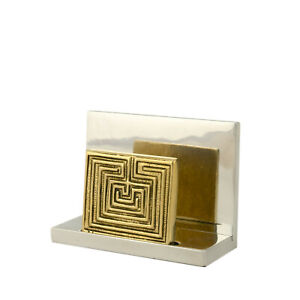 Business Card Holder Handmade Solid Aluminum Brass labyrinth Or Maze Design