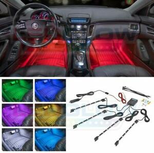 Ledglow 4pc Multi color Led Interior Footwell Underdash Neon Light Kit For Cars