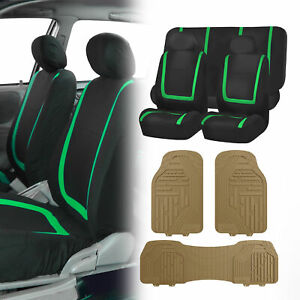 Black Green Seat Covers Set For Car Suv Auto With Beige Heavy Duty Floor Mats