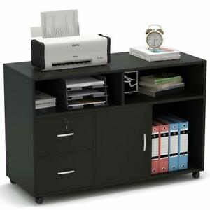 2 Drawer Storage Printer Stand Mobile Lateral Filing Cabinet With Locks Wheels
