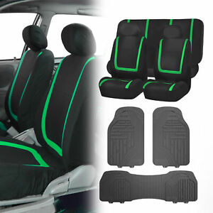 Black Green Seat Covers Set For Car Suv Auto With Gray Heavy Duty Floor Mats