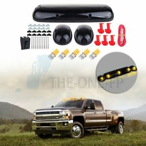 3x Smoke Lenscab Marker Roof Light T10 W5w Amber Led For 02 07 Chevy Gmc