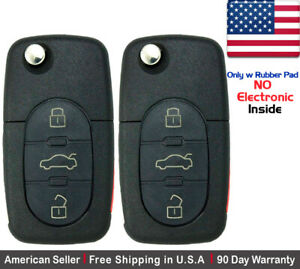 2x New Replacement Remote Key Fob Flip For Audi Shell Case Only