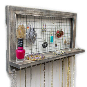 Jewelry Organizer Wooden Wall Mounted Holder For Earrings Necklaces 17 5 X 10