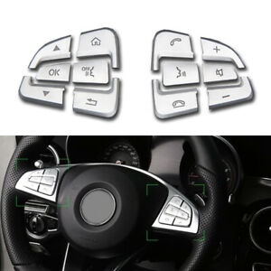 Polished Silver Steering Wheel Button Cover Sticker For 15 18 W205 C300 C63