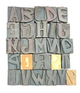 Letterpress Letter Wood Type Printers Block a To Z Typography eb 136