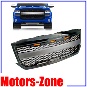 Painted Gloss Black Front Grille For 16 18 Chevy Silverado 1500 Grille W 3 Led