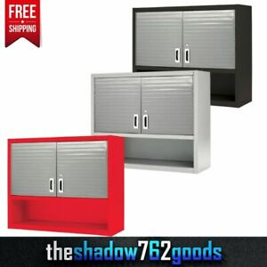 Heavy Duty Metal Locking Wall Cabinet Tool Shop Garage Storage Shelf Steel New