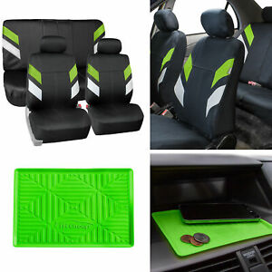 Neoprene Car Seat Covers For Auto Car Green W Anti slip Dash Mat
