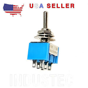 Industec Mini Toggle Switch 6a 2 Position Spdt Mts 102 Guitar 3 Pin 12v 24v