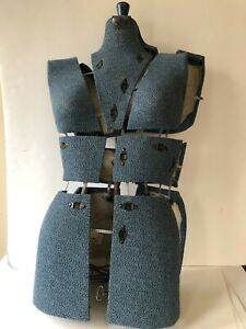Antique Vtg Dress Form Sewing Mannequin Adjustable Vanity Steampunk Blue Woman