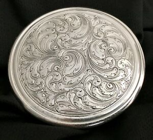 Antique C1900 Compact Sterling Silver Germany Victorian Art Nouveau Scrolls Mohr