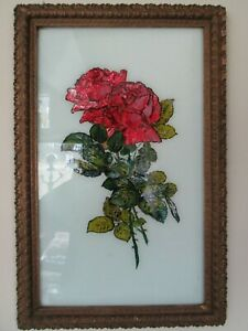 20 X 12 1 8 Ornate Gesso Frame With Foil Reversed Paint Rose Picture
