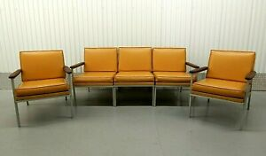 Mid Century Viko Baumritter Steel Walnut 3 Section Sofa 2 Lounge Arm Chairs Vtg