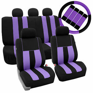 Full Set Car Seat Covers For Auto Suv Van Purple Black W Steering Belt Pads