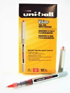 Uni ball Vision Red Ink Fine Point Roller Ball Pen One Dozen 12 pens New 60139