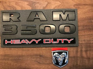 Matte Black Hard Plastic 3500 dodge Ram Logo heavy Duty Door Emblem