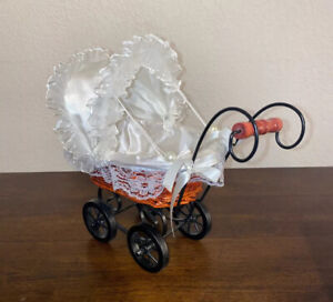 Vintage Baby Doll Carriage Stroller Buggy Wicker Wood Victorian Fits 7 Doll