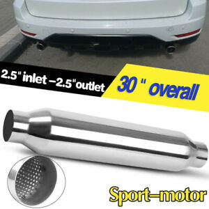 2 5 Inlet Outlet Stainless Steel Glass Pack Muffler 4 Round 30 Body Length