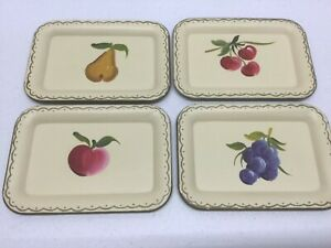 Vintage Toleware Lot Tin Serving Trays Handpainted Fruit Pear Cherries Grapes
