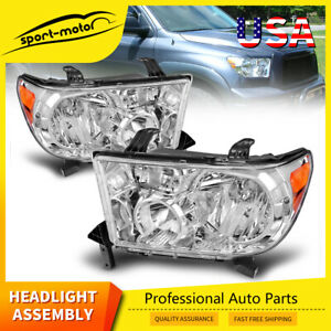 For 2007 2013 Toyota Tundra 08 17 Sequoia Headlights Chrome Housing Clear Lens