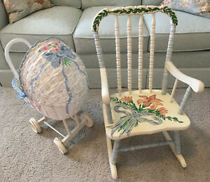Vtg Handpainted White Wicker Baby Doll Carriage Toddler Painted Rocking Chair