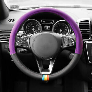 Two Tone Steering Wheel Cover Leather Universal Purple Black With Gray Dash Mat