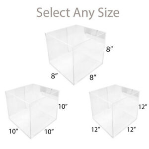 5 Sided Lucite Clear Acrylic Cube Bin Retail Display