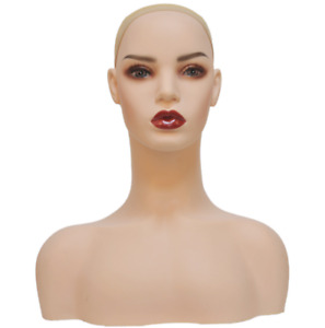 New Realistic Female Mannequin Head Fiberglass Display Hat Glasses Necklace Wigs