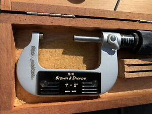 Brown And Sharpe 1 2 Outside Micrometer 2t2460 Swiss Made Box