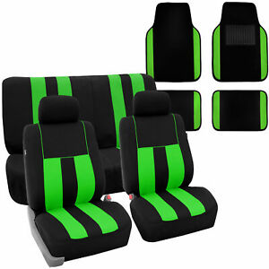 Full Set Car Seat Covers For Auto Suv Van Green Black W 2headrest floor Mat