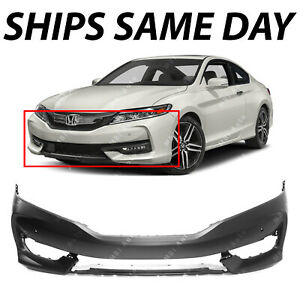 New Primered Front Bumper Cover Fascia For 2016 2017 Honda Accord Coupe W Park
