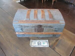 Dome Top Trunk Steamer Tin Wood 15 X 9 X 7 Salesman Sample Small Antique Doll