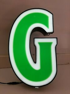 Letters Sign Channel Letter G Led Lights Signage Green And White