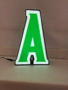 Letter A Retro Marquee Channel Letter A Vintage Sign Green White Led