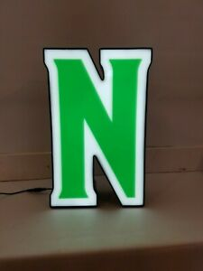 Letter N Retro Marquee Channel Letter N Vintage Sign Green White Led