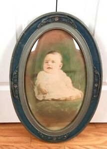 Antique Convex Bubble Glass Oval Wood Silver Ornate Gesso Pic Frame Baby 24 X 16