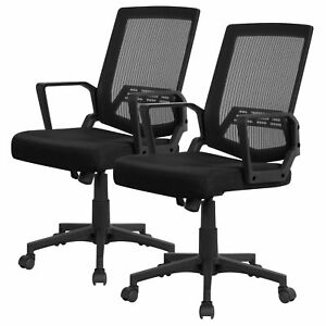 Pack Of 2 Mid back Mesh Office Chair Computer Chair Desk Chair Task Chair Black
