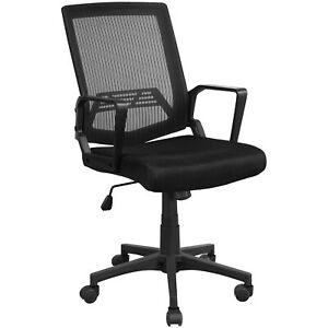 Ergonomic Executive Mesh Chair Swivel Mid back Office Chair Computer Desk Black