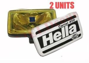 Pair Hella Comet 450 Spot Driving Yellow Light With Cover H3 Bulb 55w 12v S2u