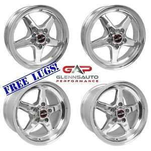 Race Star Drag Pack 17x7 17x9 5 For 79 04 Mustang polished 4 Wheel Combo