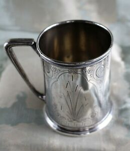 Mid 19th C Gorham Coin Silver Chased And Engraved Mug C 1855